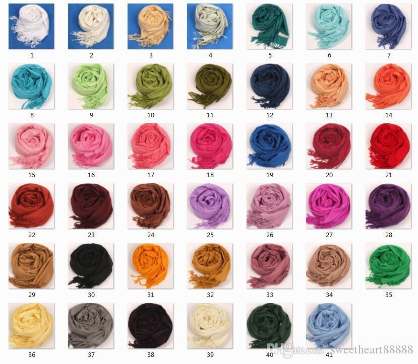 2017 41 цветов горячие пашмины кашемир твердые Шаль Wrap женские девушки дамы шарф мягкие бахромой твердые шарф