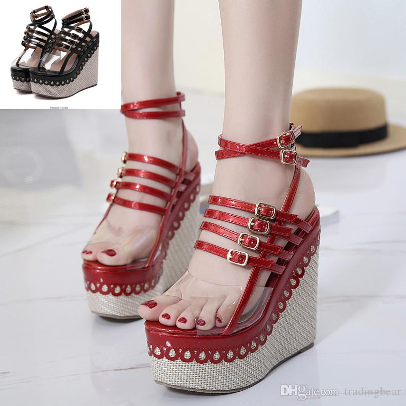 f84b38ceafae 2017 Sexy Red Black Patchwork PVC Transparent Small Buckles Ankle ...