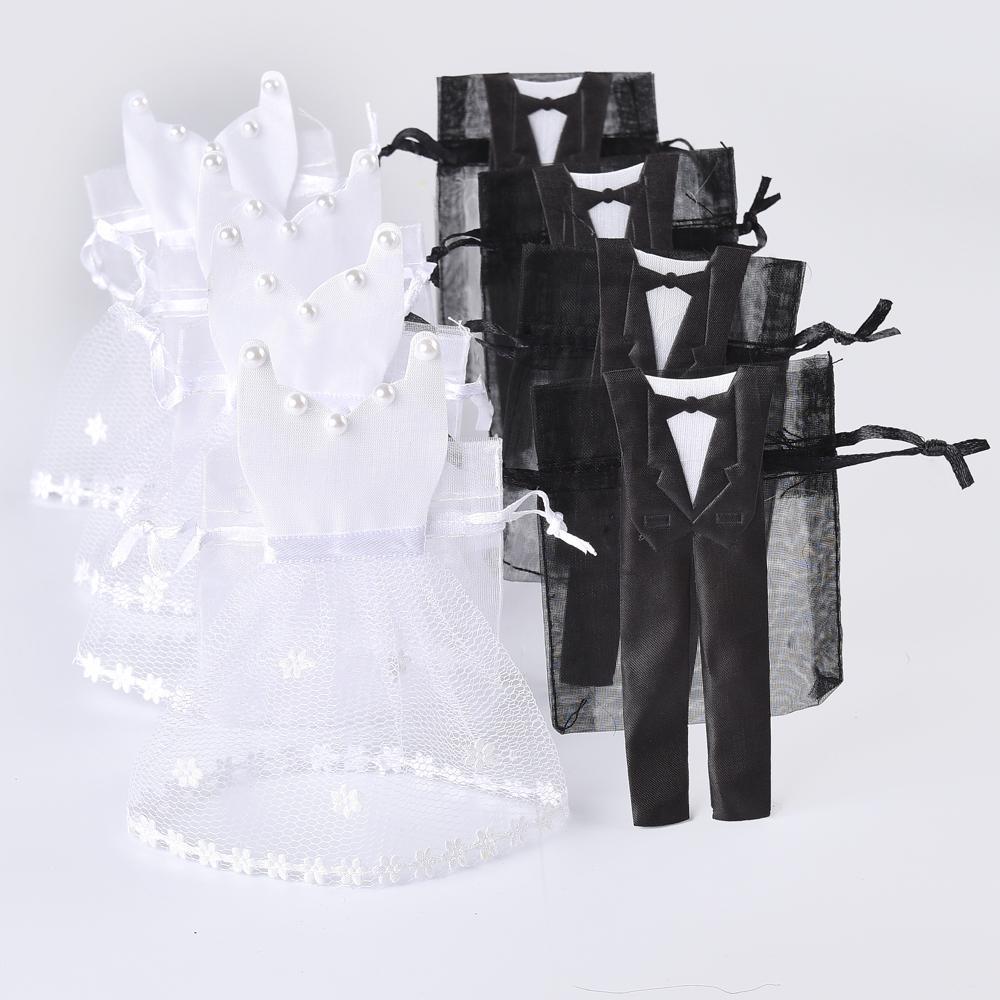 Wholesale Organza Drawstring Candy Bag 25* Tuxedo & 25* Dress Bride ...