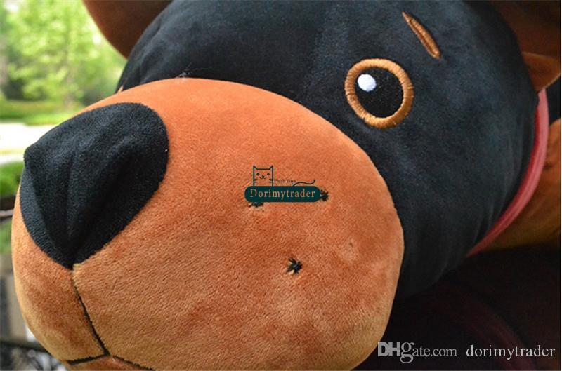 Dorimytrader 90 cm Big Animal Simulé En Peluche Chien Jouets Doux En Peluche Géant Noir Chiot Poupée Loup Chien Oreiller 35 pouces Enfants Cadeau DY61659