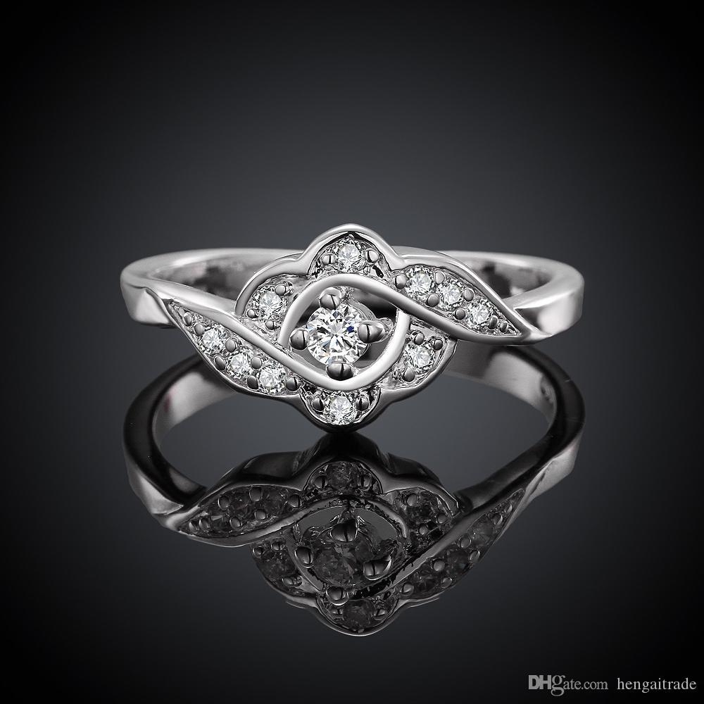 Envío gratis venta al por mayor de plata de ley 925 plateó amor anillo de la flor de la joyería LKNSPCR156-8