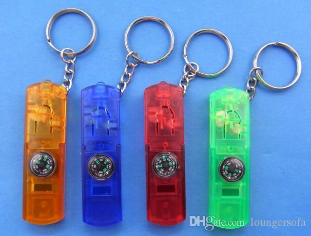 Multifonctions porte-clés lampes de poche quatre en un mini lampe de poche boussole sifflet clés lumières en plastique coloré utile 1 1hh