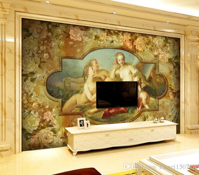 Large Murals Custom Wallpaper European Religious Gods Angels Sitting Room Dining Bar Sofa Setting Wall Of The Corridor Beach Wallpapers Beautiful