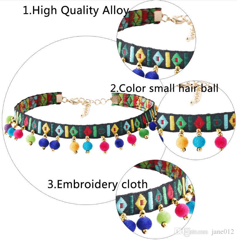 Hot Selling Imitation 18K Gold Plated Colorful Ball Tassel Embroidery Neck Chain Charms Choker Collars Necklace Jewelry