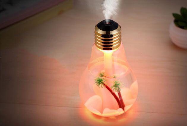 Vida Humidificadores de plástico USB Lámpara Bombilla Humidificador Aroma doméstico Humidificadores LED Difusor de aire Purificador Coche y uso doméstico Silencio ABS