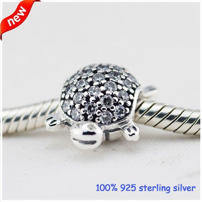 Adatto Pandora Bracciali Turtle Silver Beads con CZ Nuovo originale 100% 925 Sterling Silver Charms fai da te all'ingrosso