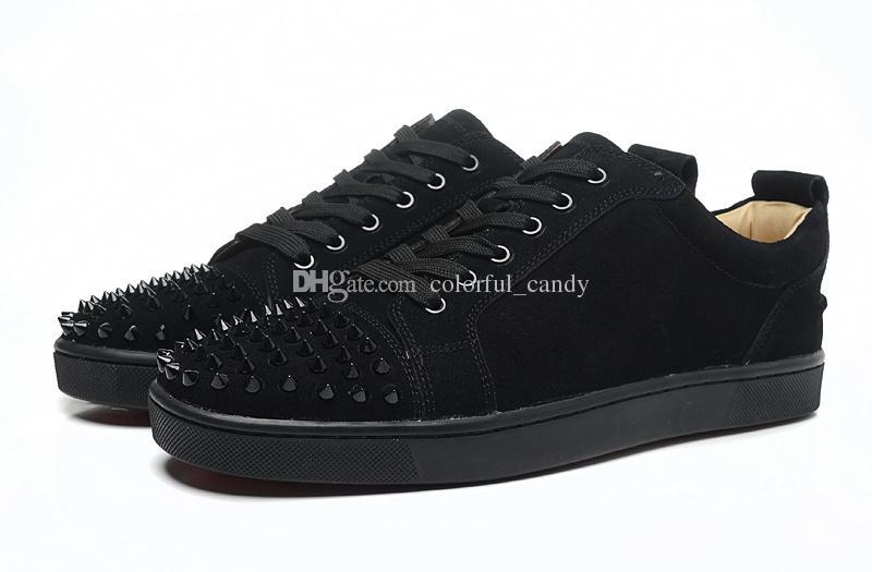 2017 uomini di marca sneakers Spikes Fondo rosso piatto scarpe casual uomini Low Top rosso con borchie borchie nere rivetto maschio scarpe casual