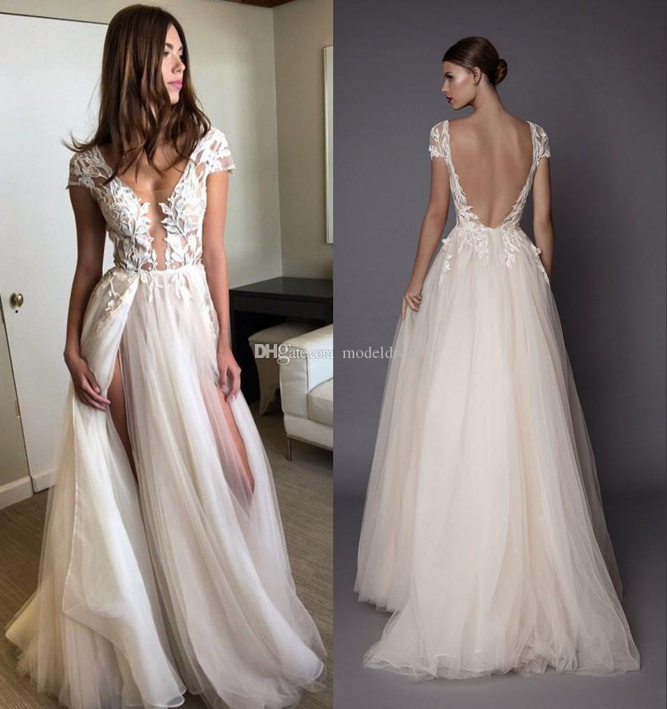 Discount Sexy Side Split Wedding Dresses 2018 Backless V Neck Sweep Train  Appliques Garden Beach Country Bridal Gowns Vestido De Novia Abiti Da Sposa  ... 53084a043dd9