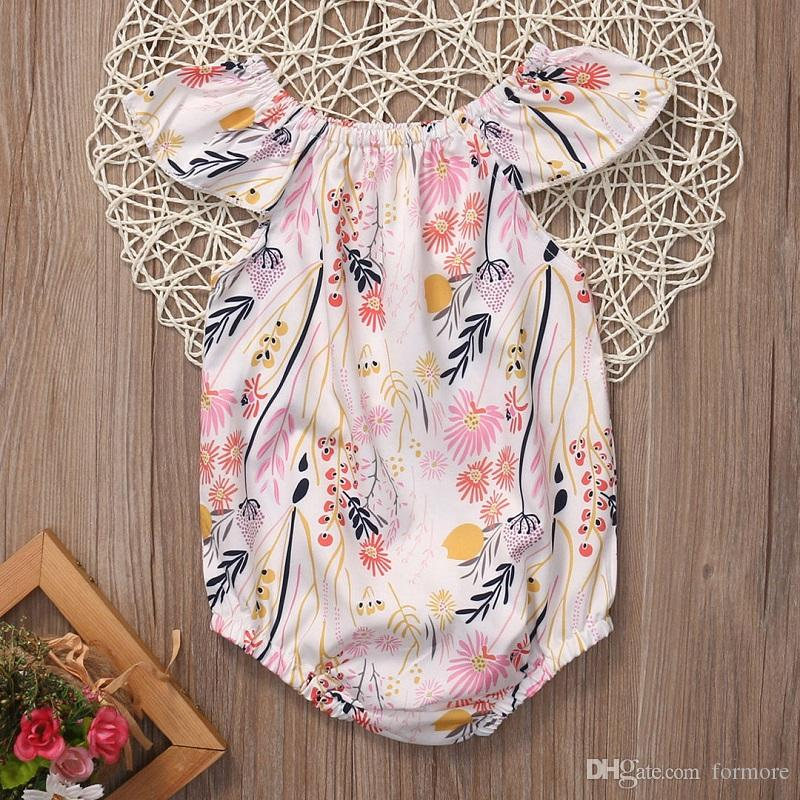 Newborn Kids Baby Girl Romper Floral Flare Short Sleeve Rompers Suit infant toddlers Outfit Fashion Jumpsuit