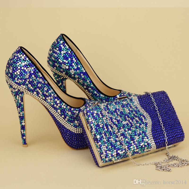 2017 Unique Dsigne récent Arrived Chaussures avec sac assorti bleu Party strass Prom Nightclub hauts talons chaussures de mariée mariage Stiletto
