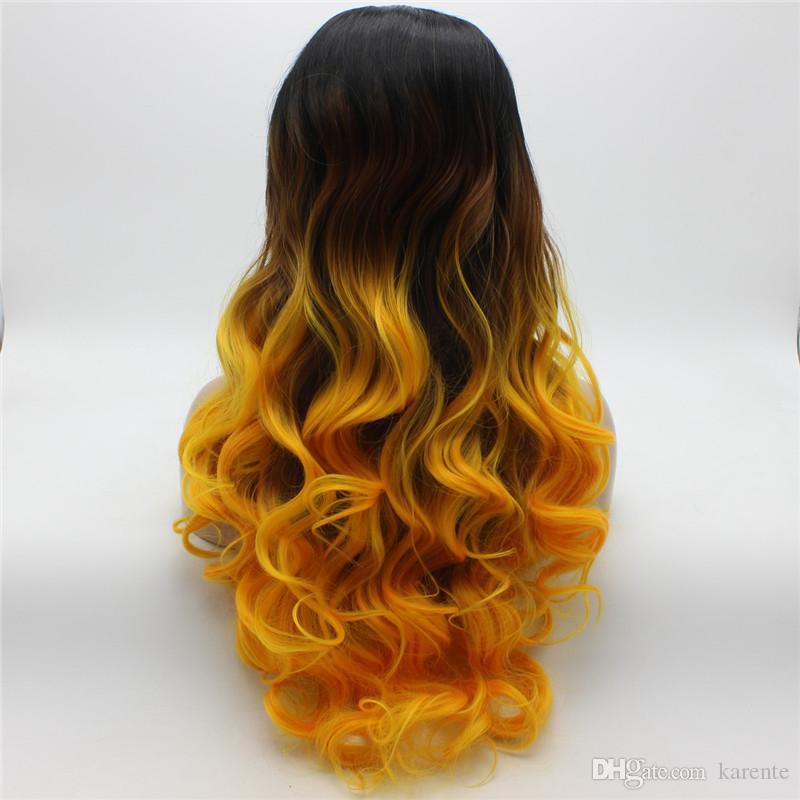 Iwona Hair Dark Root Ombre dorado Peluca larga ondulada 5 # 1B / 1150 Media mano atada Peluca delantera de encaje sintético resistente al calor