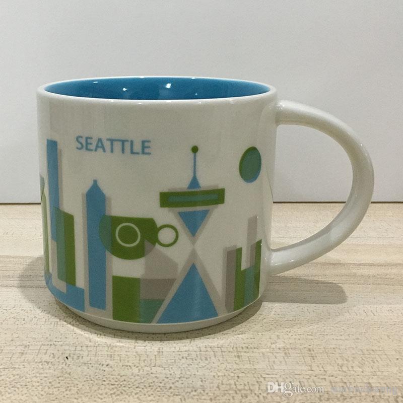 14 oz Kapasiteli Seramik Starbucks Şehir Kupa Amerikan Şehirler Orijinal Kutusu ile En Iyi Kahve Kupa Bardak Seattle Şehir