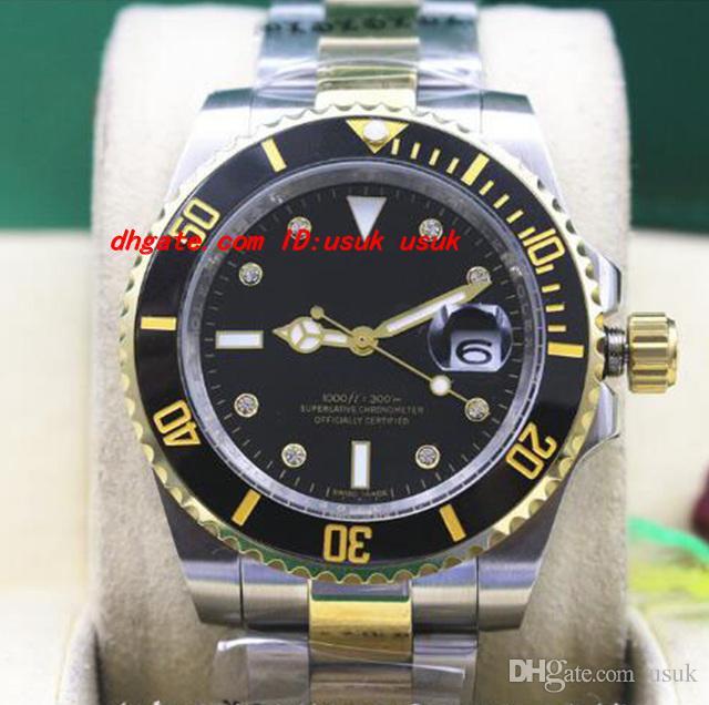 4d7990792de Top Quality Luxury Wristwatch MINT Men S Black Diamond Ceramic 116613 Two  Tone Gold Dive Watch Automatic Mechanical Men Watches New Arrival Sale  Watches ...