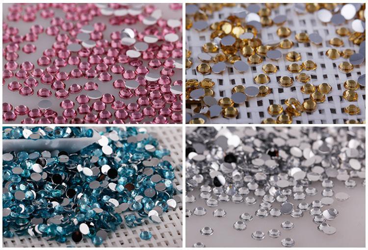 Nail Art Strass Cristal Micro Diamant Flatback Colle Fixe Non Hotfix Strass Décoration Vêtements DIY 12 Couleurs x 2mm / 3mm
