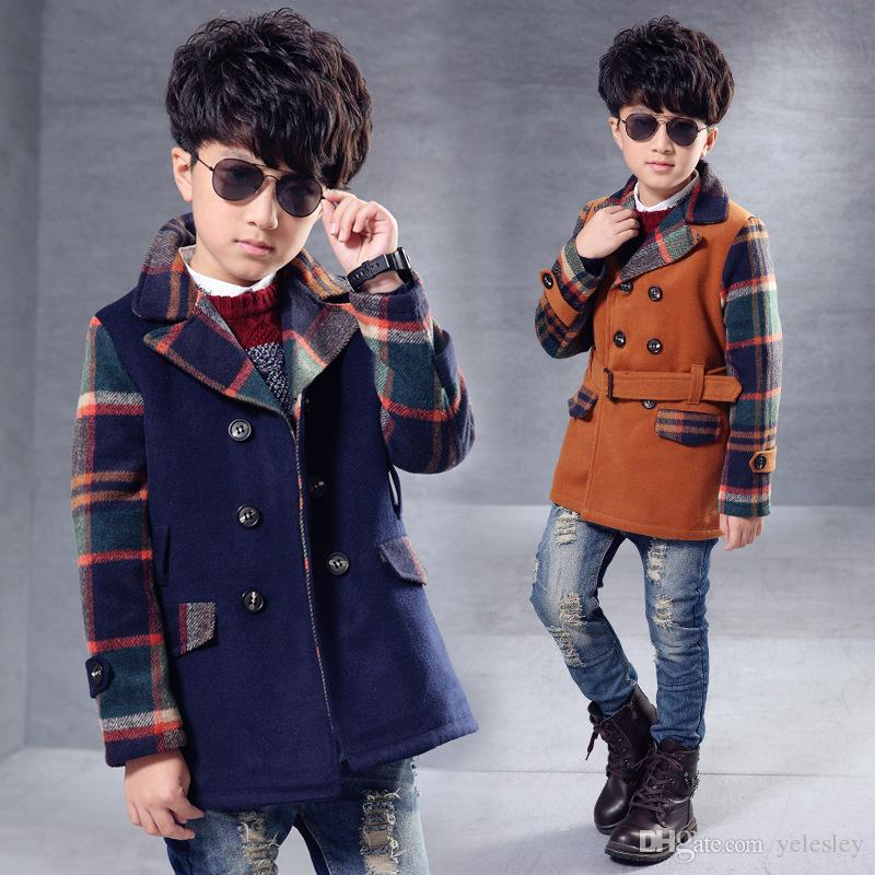 32f0910054fd New Arrival Fall Winter Boys Fashion Casual Solid Long Woolen Jacket ...