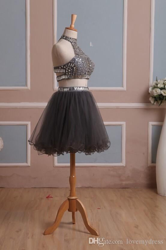 2017 Cheap Two Piece Silver Homecoming Dresses High Neck Rhinestone Beaded Sequins Draped Piping Ball Gown Short Mini Prom Dress Custom Made