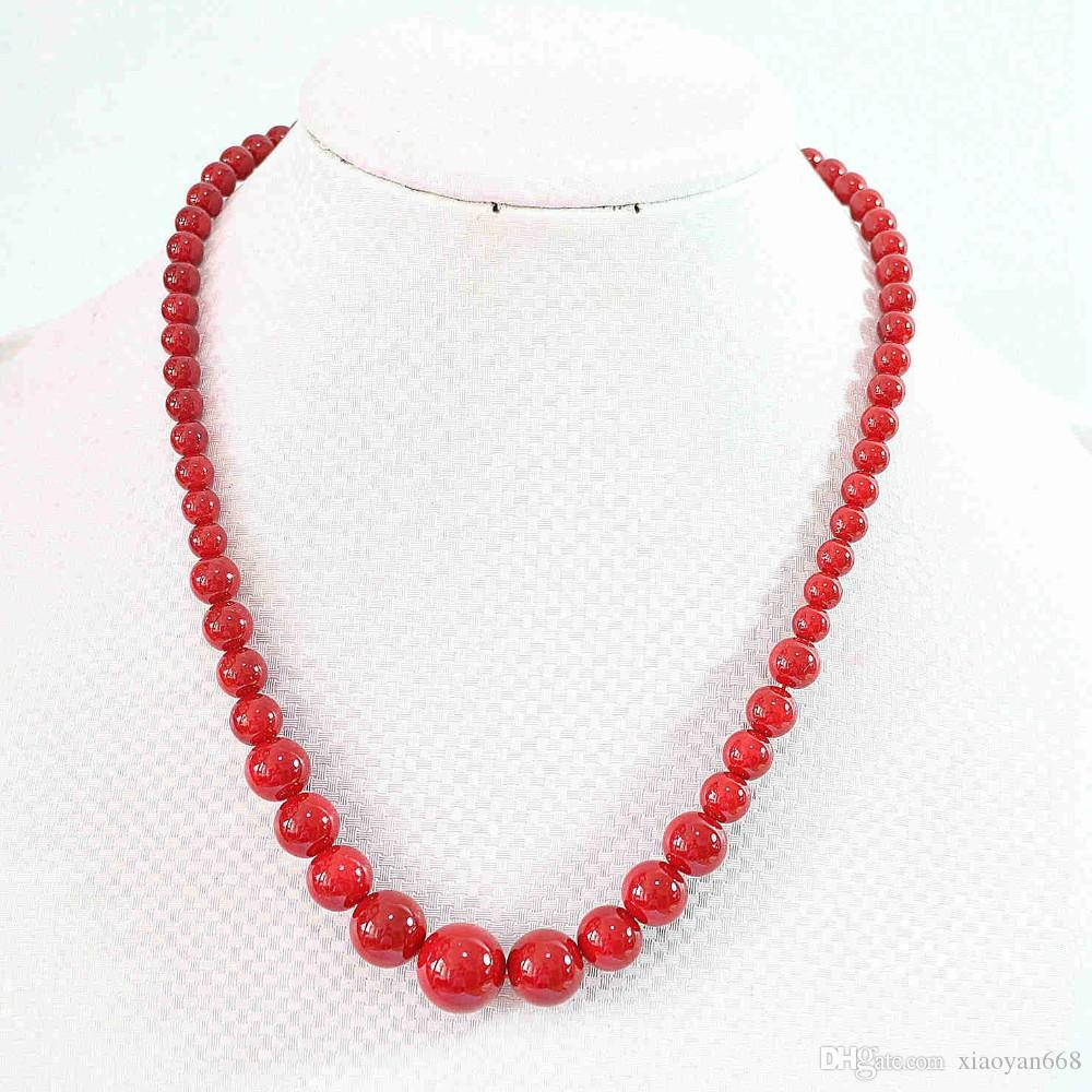 Free Delivery Beautiful Fashion Artificial Red Coral 6-14mm Round ...