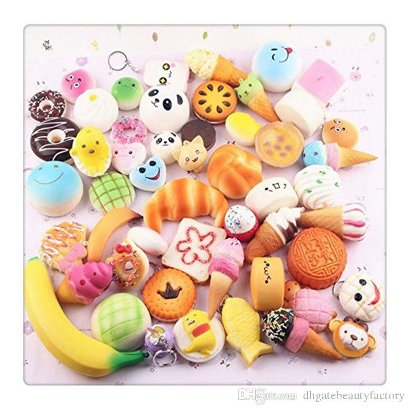 Wholesale Cute Mini Squishy Phone Straps Random Foods Phone Charm Key Chain Strap Lovely Soft Bread Cake Ice Cream Squishies Toys Free DHL