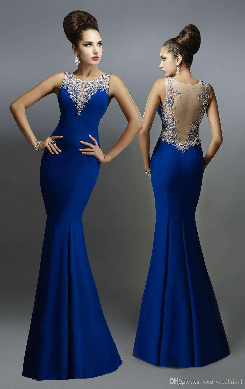 4391fa9d9224a Satın Al 2018 Mermaid Balo Elbise Abiye Gelinlik Modelleri Kraliyet Mavi  Şifon Abiye Giyim Örgün Elbise Sheer Geri Payetli Custom Made, $142.72 |  DHgate.