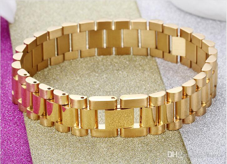 Hot Fashion 15mm Luxury Mens Womens Watch Band Bracelet Gold Silver Stainless Steel Adjustable Strap Cuff Bangles Jewelry 8.66