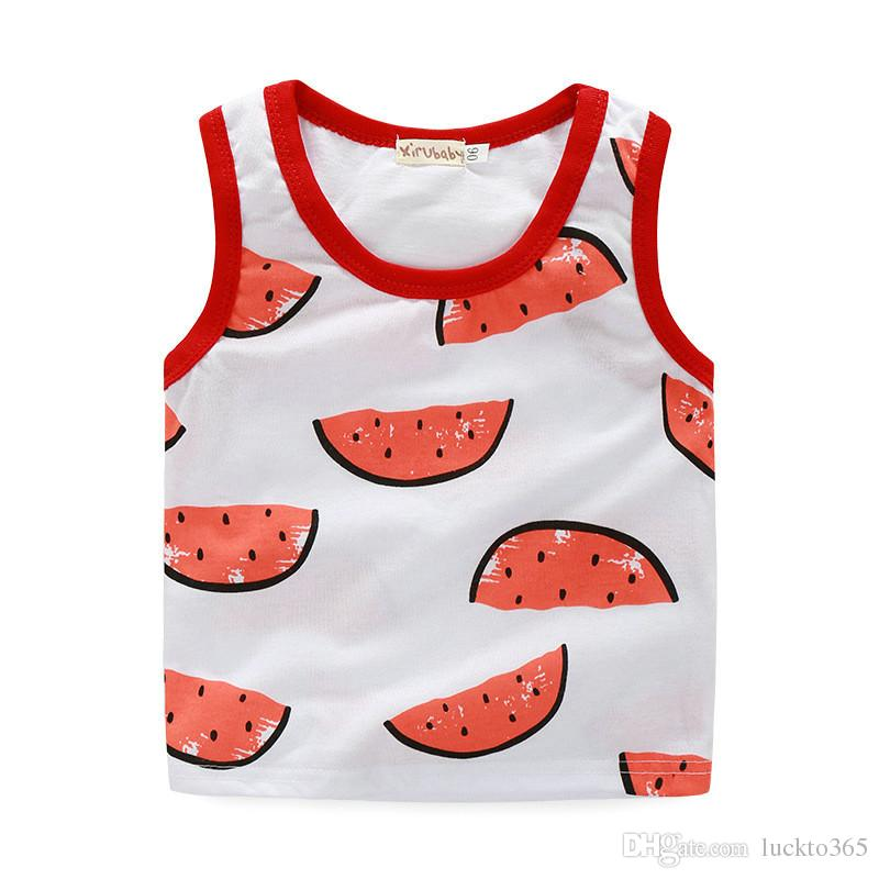 Watermelon Print Top & Pant Set Cotton Suits for Baby Girls and Boys Sleeveless Vest Clothing Children Sets Korean Style Summer Cool Outfits
