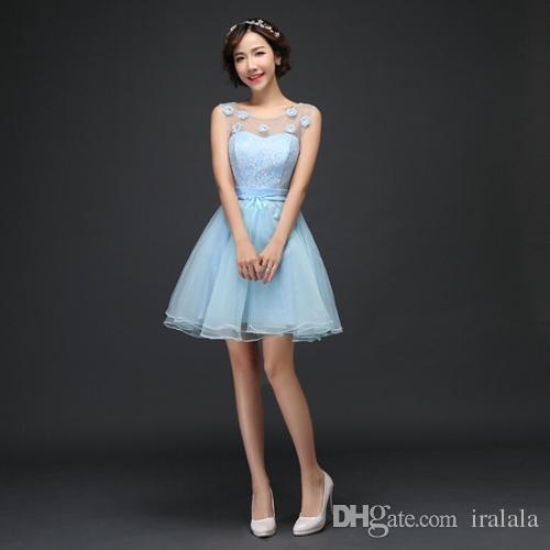 Short Girl Light Blue Corset Tulle Lace Up Fancy Pageant Ball Gown ...