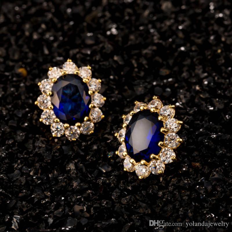 Pendiente de perno de flores de venta más vendida con joyería de novia de la novia de la novia de la piedra de la zirconia azul / roja para las niñas para las mujeres
