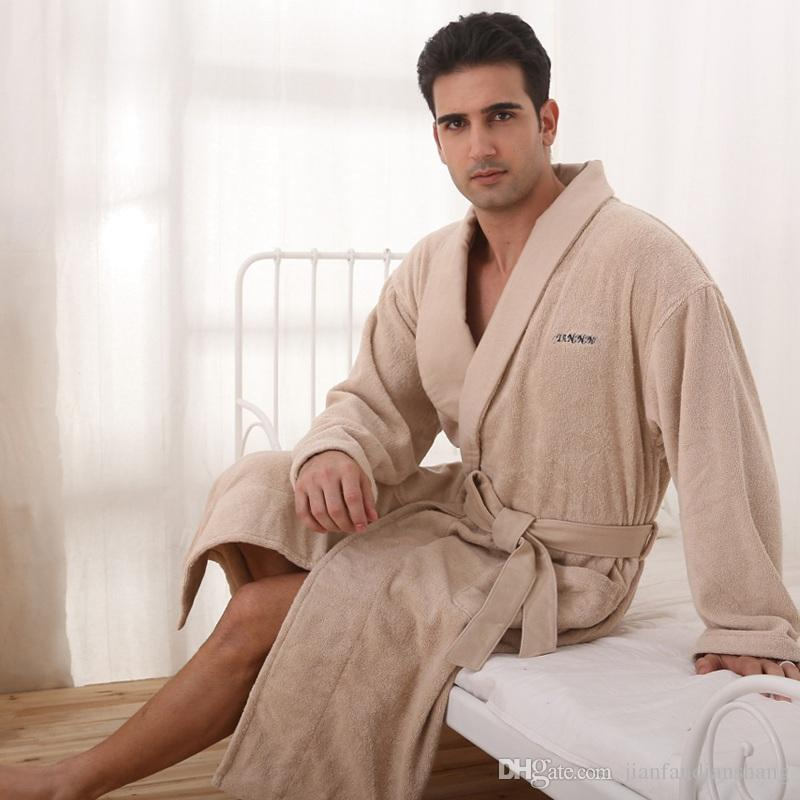 43836db5bb Men Bathrobe Cotton Nightgown Women Sleepwear Blanket Towel Fleece Bathrobes  Home Thickening Lovers Long Soft Plus Size Autumn Winter Men Bathrobe  Nightgown ...