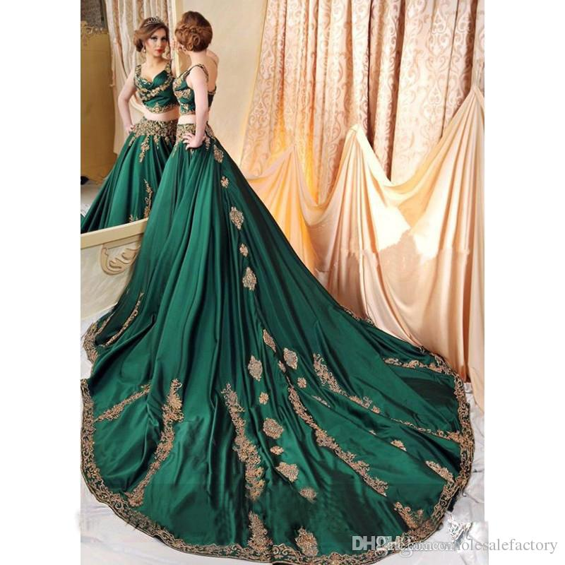 Dubai Abaya Verde Escuro 2 Peça Vestidos de Noite com Apliques de Renda de Ouro Vestidos de Baile Sexy Saudita Árabe Vestidos Vestido De Festa 2017 Queda