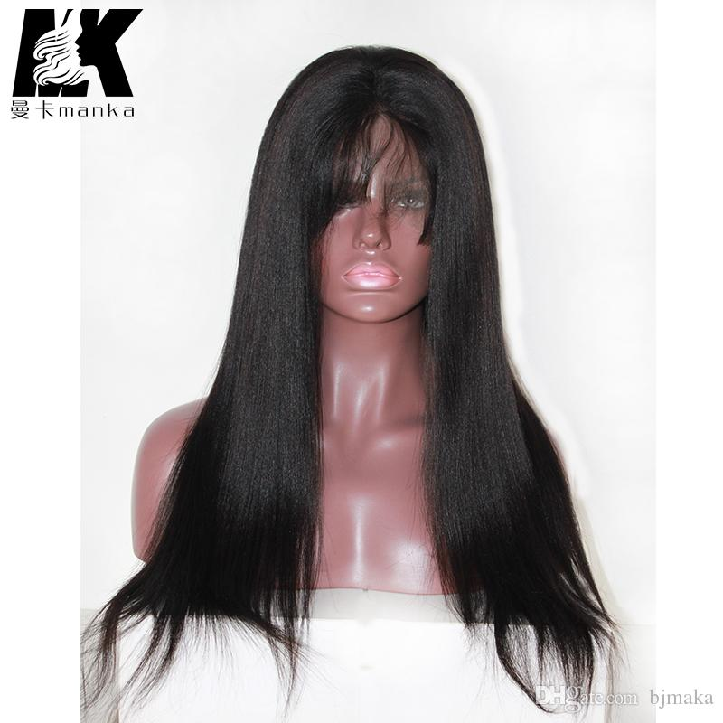 "8A Yaki straight Full Lace Human Hair Wigs For Black Women Brazilian Full Lace Hair Wig 8-24"" Yaki Lace Front Human Hair Wigs"