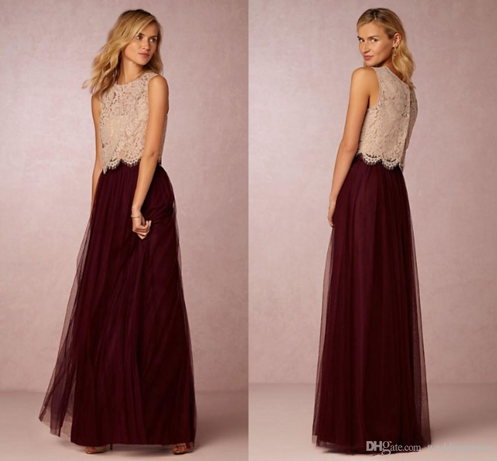 ad5c77e009 Vintage 2019 Two Pieces Bridesmaid Dresses Lace Top Tulle Skirt Long  Burgundy Prom Gowns Junior Wedding Party Gowns Custom Cheap White  Bridesmaid Dress Wine ...
