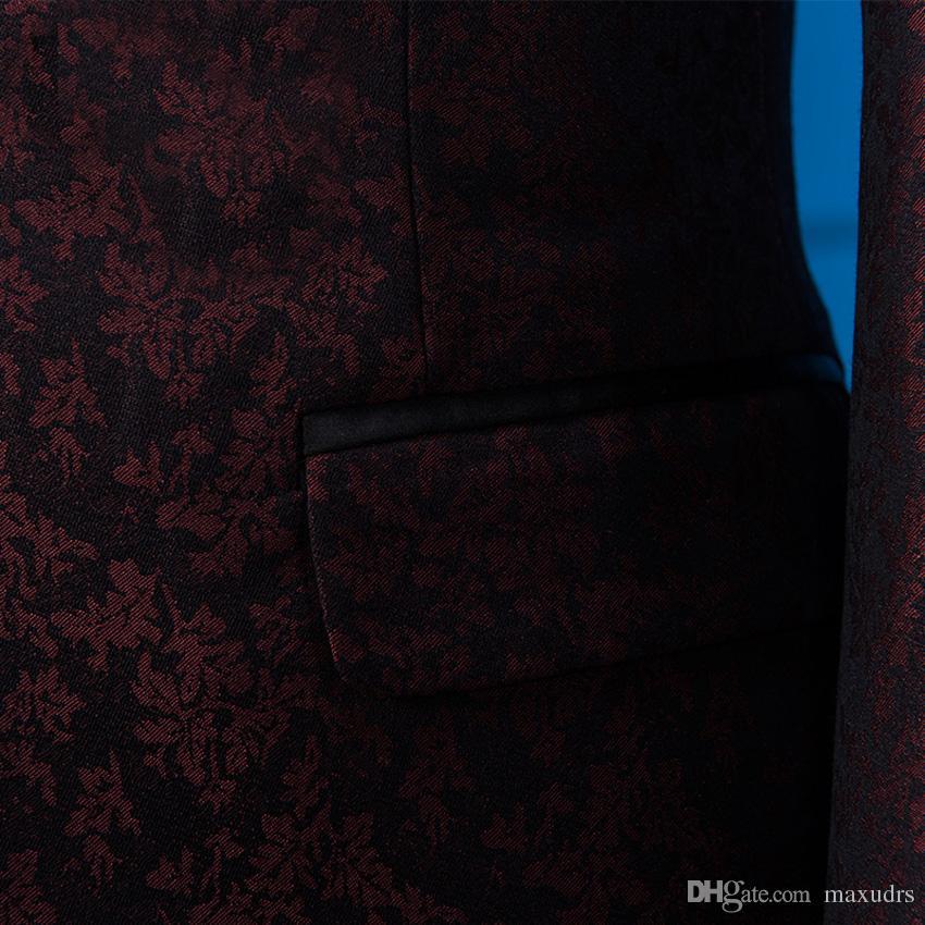 2017 Nouveaux Hommes Costumes Pourpre Rouge Hommes Costume Blazers Slim Fit Groom De Mariage De Bal D'affaires Mâle Tuxedo 2 Pièce Veste + Pantalon