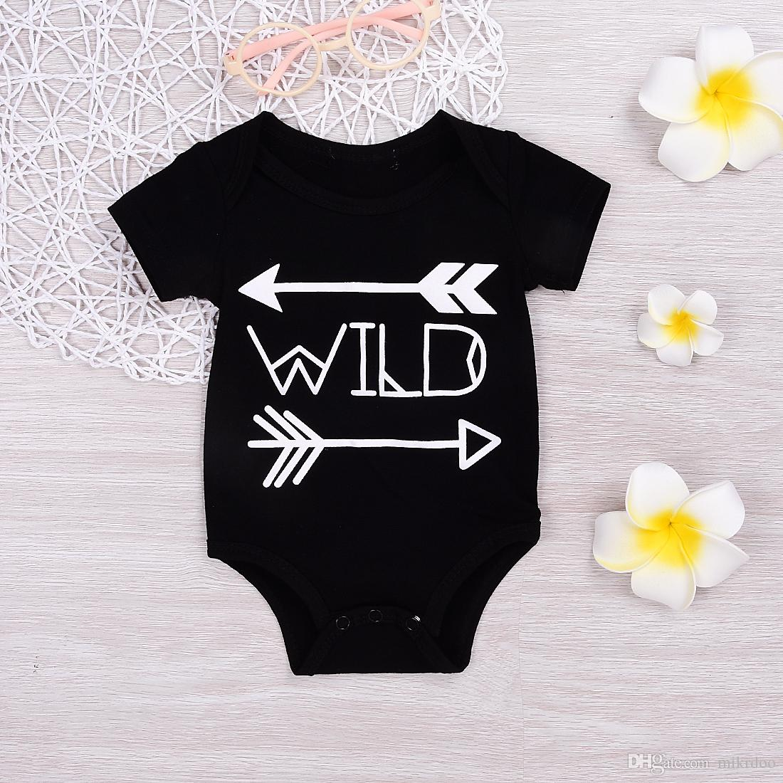609afae1abf 2019 Mikrdoo Baby Boy Girl Fashion Rompers 2017 Cotton Black Wild Letters  Printed Body Suit Newborn Infant Arrows Romper Cool Jumpsuit For 0 18M From  ...
