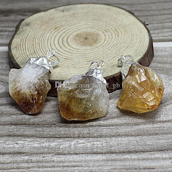 "16"" Raw Citrine Point Pendant Necklace // Citrine Gemstone Necklace Available in Gold or Silver Electroplated //Raw Citrine BEAUTIFUL YF0502"