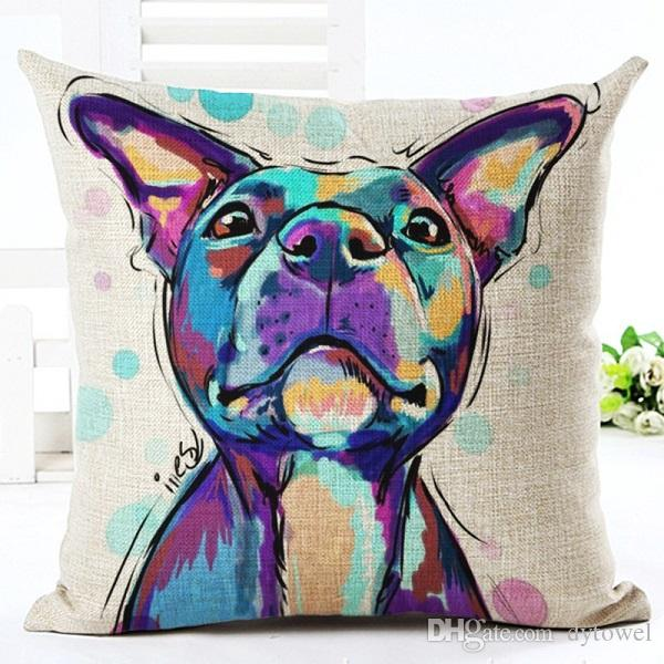 Painting Pop Dog Pillow Covers For Home Sofa Car Bed Cotton Linen