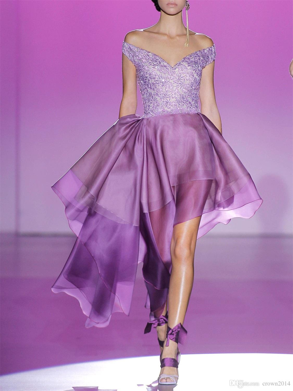 2019 Off Shoulder Prom Dresses V Neck Organza Ruffles Tiered Lace Applique Sequin Hannibal Laguna couture Vestidos De Fiesta Cocktail Party