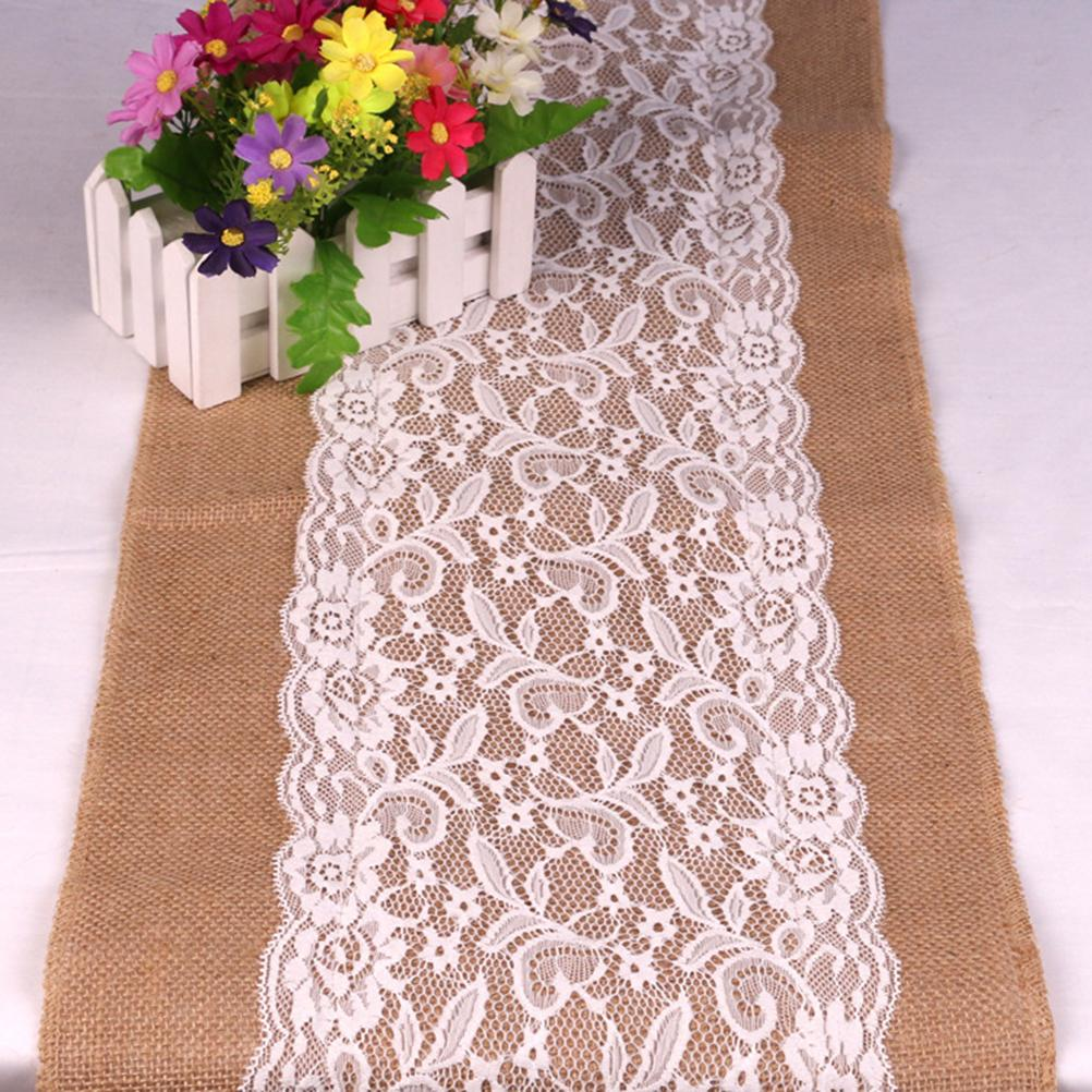 Wholesale Best Sale Lace Burlap Table Runner 108x30cm Lace Vintage Natural  Burlap Jute Hessian Table Runner Cloth Wedding Party Decor Party  Decorations ...