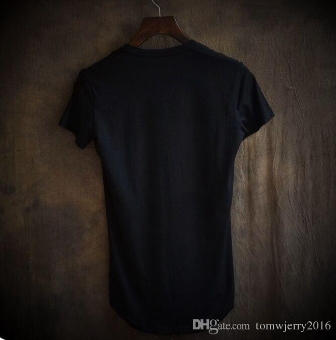 Verano Nuevos hombres de la llegada V profundo cuello de manga corta camisetas Hombre suave irregular Longitud delgado simple Tops 4XL S M L XL 2XL 3XL