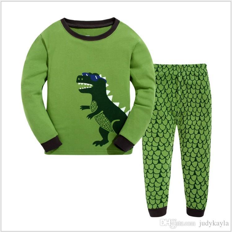 5aecb2a32453 2017 Boys Cute Dinosaur Long Sleeve T-shirt+Pants Set Children s ...