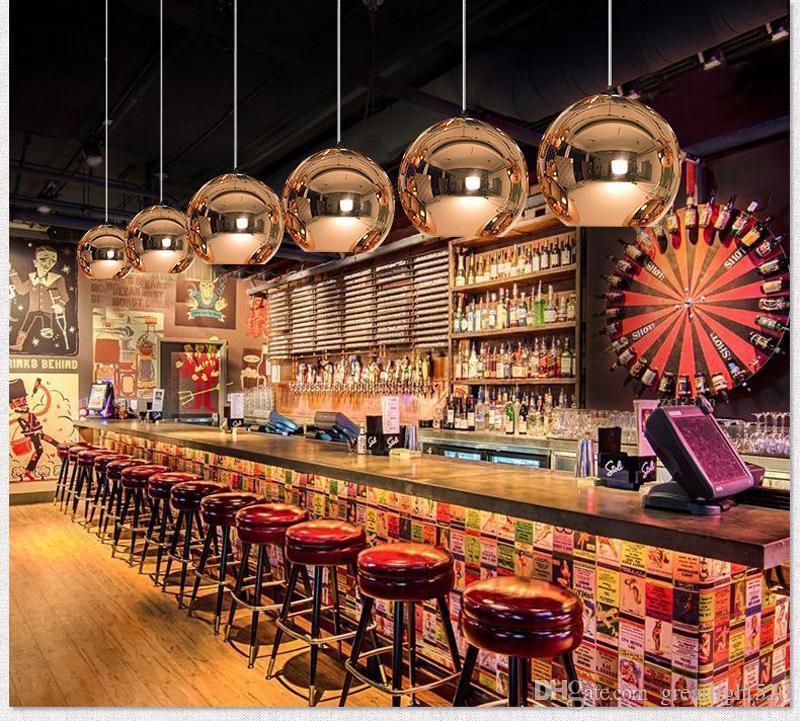 Bola de Iluminação da arte do vidro moderna nova para a loja de café clube bar da moda candelabro banhado de luz pingente de bola de vidro de iluminação interior luz