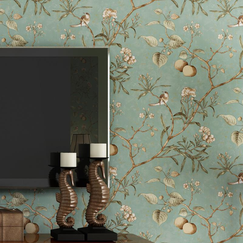 Wholesale-wall paper. Pune dark blue retro flower wallpaper American  country living room sofa backdrop wallpaper bedroom wallpaper