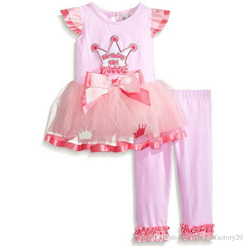 Bebek Kız Moda Sonbahar Ilmek Takım Elbise Noel Şerit Dantel Tül Nokta T-shirt Elbise + Pantolon Setleri Uzun Kollu Pijama Bebek Butik Kıyafetler