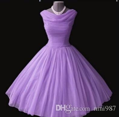 1950's 50s Vintage Gelinlik Modelleri Lavende Gerçek Görüntü Kısa Gelinlik Modelleri Parti Abiye Mezuniyet Elbiseleri Vestidos Para Festa Ücretsiz Kargo