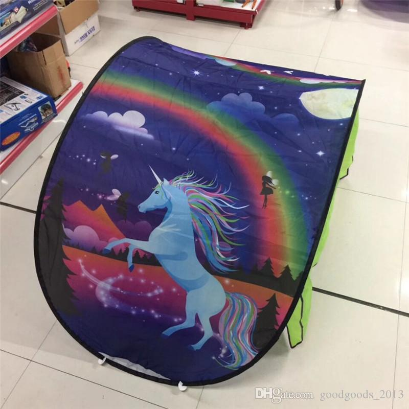 9 Styles 80*230cm Kids Dream Tents Folding Type Unicorn Moon White Clouds Cosmic Space Baby Mosquito Net Without Night Light z114-1