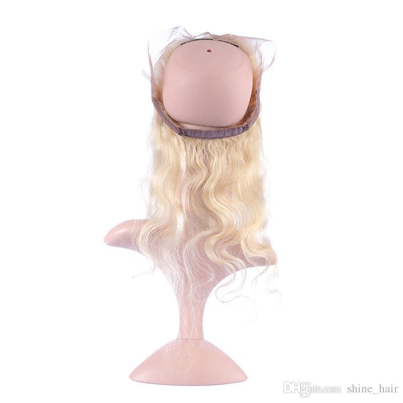 # 613 러시아어 금발의 인간적인 머리 360 밴드 레이스 정면 폐쇄 표백 된 매듭 바디 웨이브 백금 금발 360 레이스 밴드 폐쇄와 아기의 머리카락