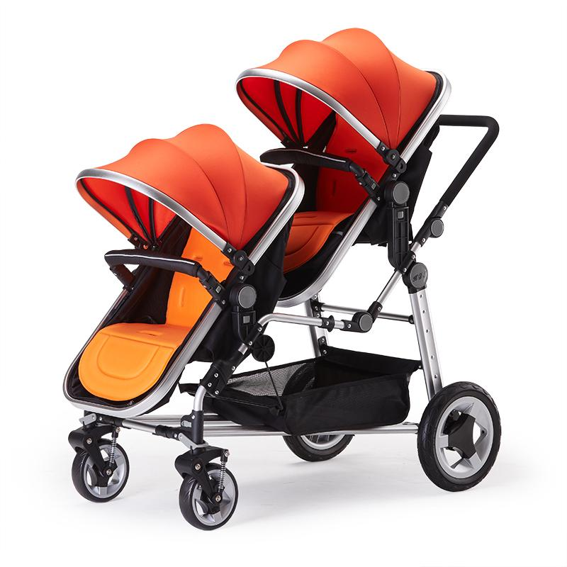 Fashion High Landscape Twins Stroller Baby For Folding Double Front Rear 2 Seat Pushchair Trolley Kids
