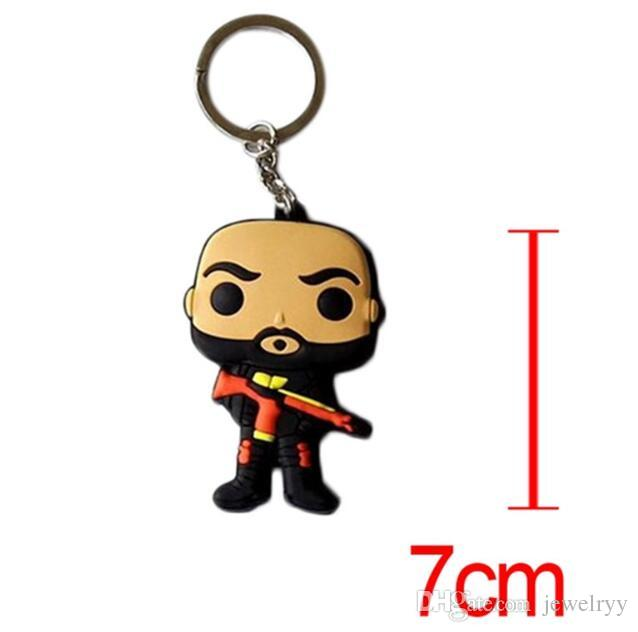 Cartoon Suicde Squad Harley Quinn keychain 3D Action Figure Key Chain pendant for car Keyring accessories