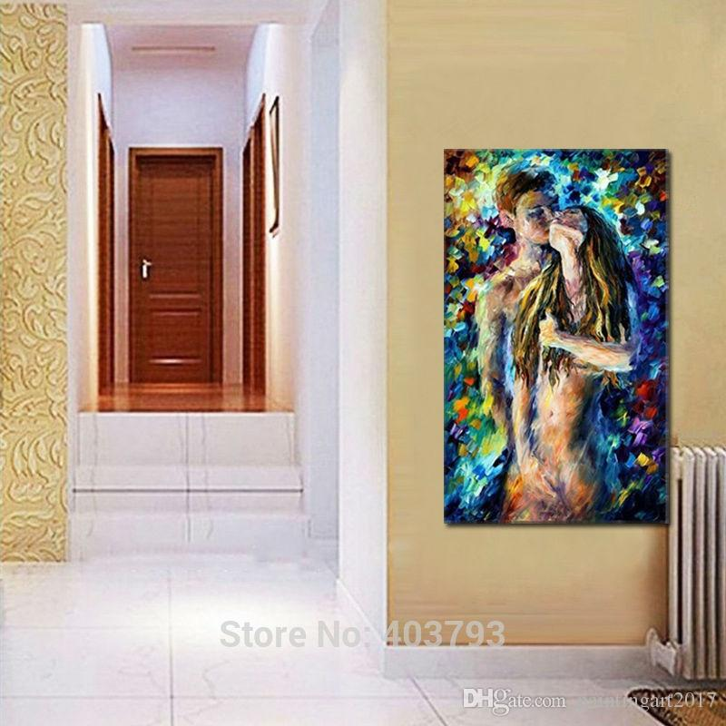100% Hand Painted Nude Woman and Man Sex Oil Painting Palette Knife Abstract Picture Body Canvas Art Christmas Gift Home Decor