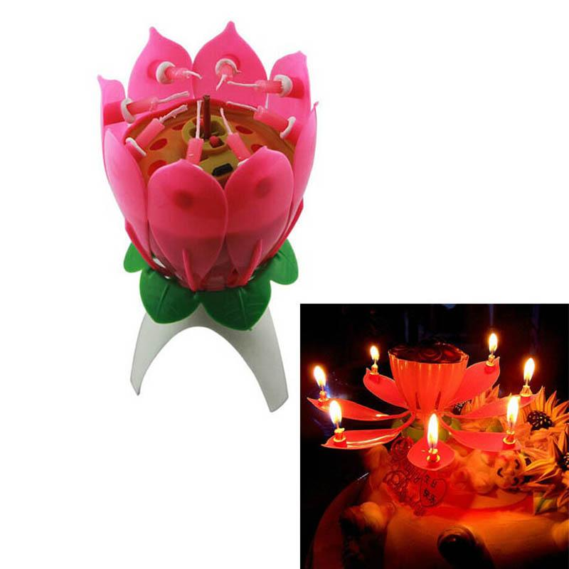 2019 2017 New Creative Musical Birthday Candle Lotus Flower Cake Candles Wedding Halloween Party Supplies From Emmayu 995