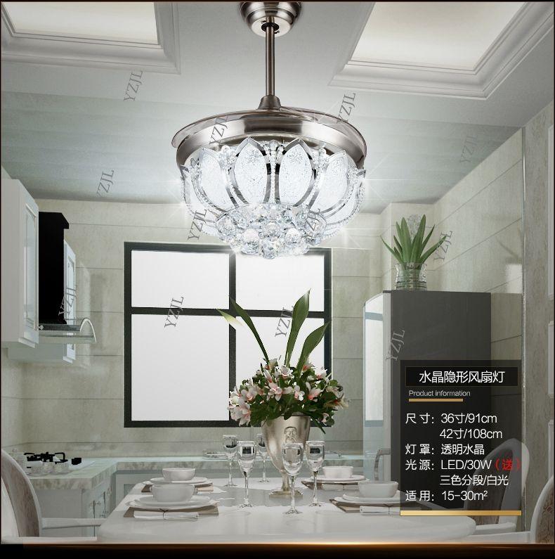 42inch Fan crystal ceiling chandelier fan lights living room dining room Minimalism modern fan with LED ceiling chandelier